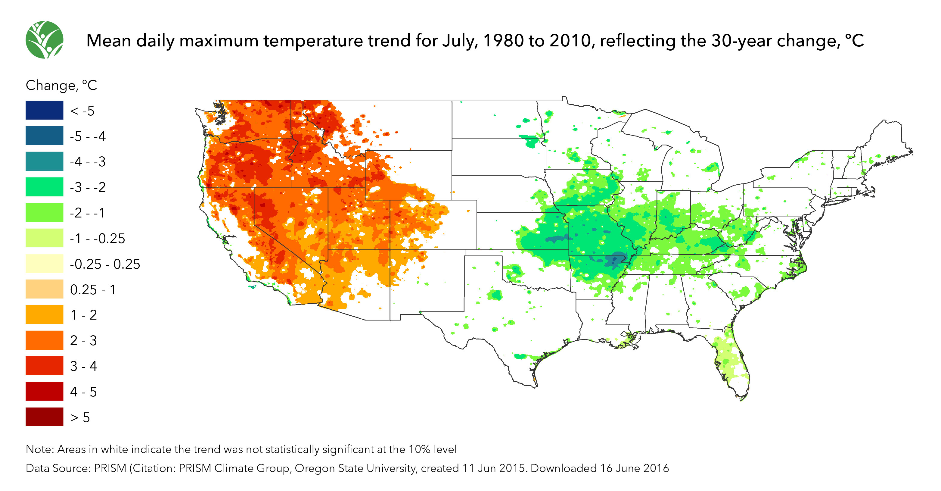 United States Yearly Annual Mean Daily Average Temperature Map - Average temp map us