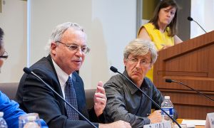 "Panelists answer questions at recent policy seminar on ""21st Century Agricultural Policies."""