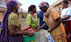 Cassava Traders at Market, Uganda.