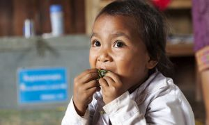 Student eating vegetables as part of national school feeding program in Laos.