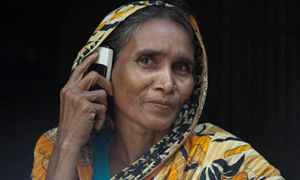 Woman in Bangladesh with cell phone