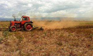 A red tractor in a field in Ethiopia