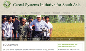 Screenshot of the CSISA website
