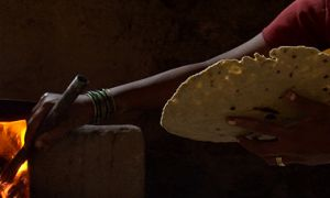 A woman's hand hold's chapati, with fire in background