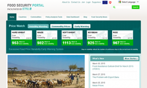 Screenshot of the Food Security Portal