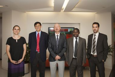 Panelists (L-R): Gwendolyn Stansbury, Shenggen Fan, Thomas Jayne, Milu Muyanga, and Derek Headey.Panelists (L-R): Gwendolyn Stansbury, Shenggen Fan, Thomas Jayne, Milu Muyanga, and Derek Headey.