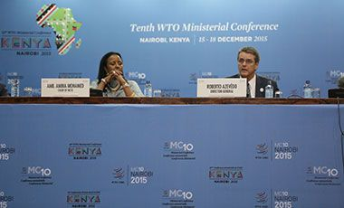 Two participants in the Tenth WTO Ministerial Conference - Day 5