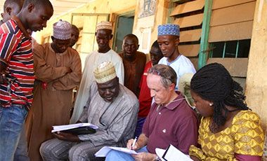 DSG's Research Fellow Michael Johnson interviewing rice millers in Dandume, Katsina State, Nigeria