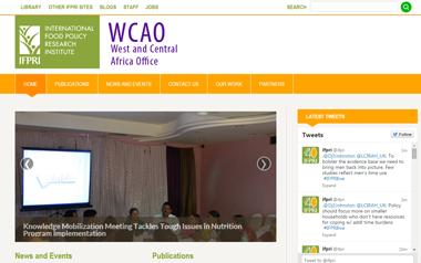 Site web du bureau de L'IFPRI pour l'Afrique occidentale et centrale