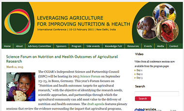 screen shot of 2020 Agriculuture and Health Conference website