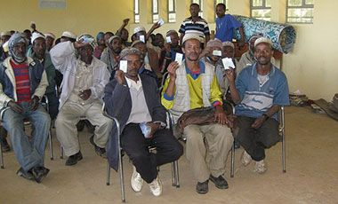 Ethiopian farmers at weather insurance workshop