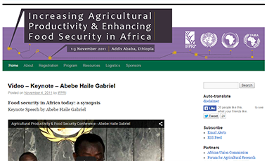 Website of Addis conference on Increasing Agricultural Productivity and Enhancing Food Security in Africa