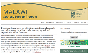 Malawi Strategy Support Program Website