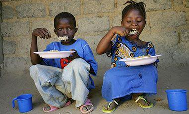 Two children eating
