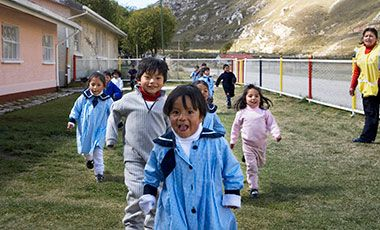 school children wearing blue