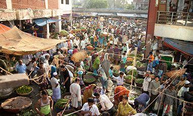 A crowded market in Dhaka, Bangladesh
