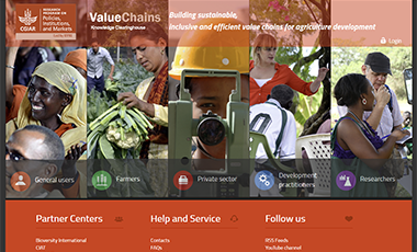 Screenshot of Value Chains Knowledge Clearinghouse website